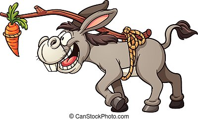 Donkey and carrot - Donkey following a carrot tied to its...