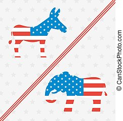 Donkey and Elephant as a Symbols Vote of USA