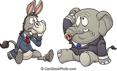 Donkey and elephant - Elephant and donkey in business,...