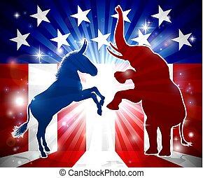 Donkey and Elephant Face Off - An elephant versus a donkey...