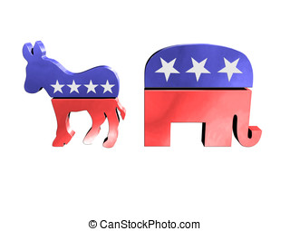 Donkey and elephant - Republican and democrat symbols