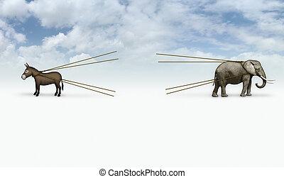 Donkey and Elephant Tug of War with Blank Area