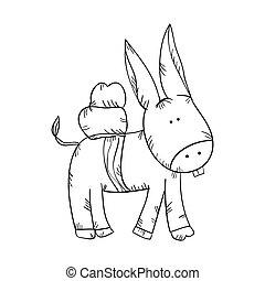donkey animal drawn design