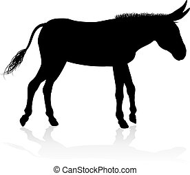 Donkey Animal Silhouette - A detailed high quality donkey...