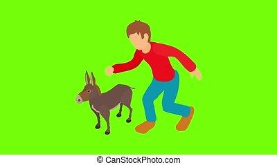 Donkey breeding icon animation cartoon best object on green screen background