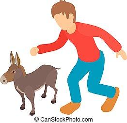 Donkey breeding icon, isometric style