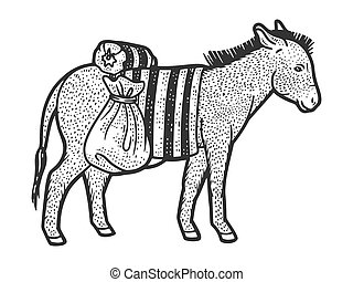 Donkey carrying heavy loads. Sketch scratch board imitation. Black and white. Engraving vector illustration.