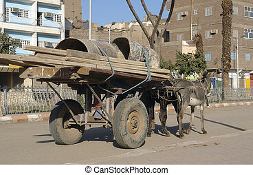 street scenery with donkey cart in Esna, a city in Egypt (Africa)