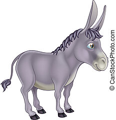Donkey Cartoon - An illustration of a cute grey cartoon...