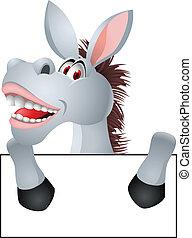 Donkey Cartoon With Blank Sign
