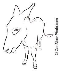 Donkey Contour Silhouette