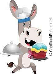 Donkey cooking, illustration, vector on white background.