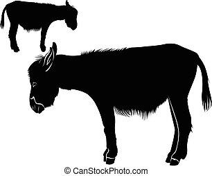 Donkey. Donkey Silhouette. donkey silhouette isolated icon vector illustration design
