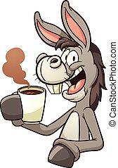 Donkey drinking coffee - Cartoon donkey drinking coffee....