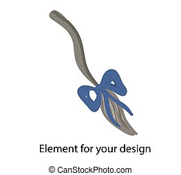 Donkey Eeyore. tail. Blue bow Vector illustration on a white background. Element for your design..