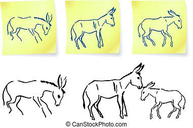 donkey family on post it notes original vector illustration...