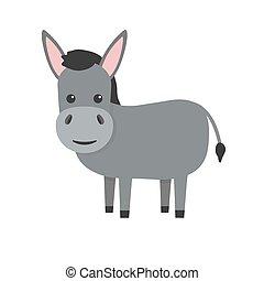 Donkey flat character. Cute farm animal. Vector cartoon illustration isolated on white