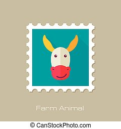 Donkey flat stamp. Animal head vector illustration, eps 10