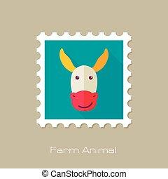 Donkey flat stamp. Animal head vector illustration, eps 10