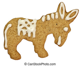 Donkey gingerbread cookie isolated on white with clipping path