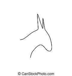 Donkey head line icon