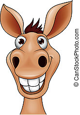 Vector illustration of smiling donkey head cartoon