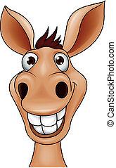 Donkey head - Vector illustration of smiling donkey head...