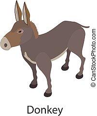Donkey icon, isometric style