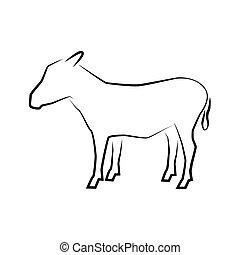 Logo of donkey full length isolated on white.