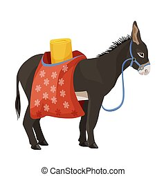 Donkey in harness that carries sacks with sleeping bag -...