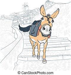 Donkey in Oia, Santorini - Donkey in the village of Oia, ...
