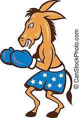 Donkey Jackass Boxing Stance - Cartoon illustration of a...