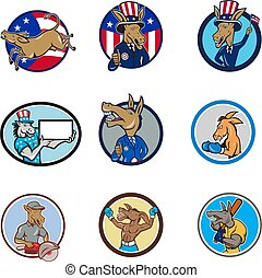 donkey-mascot-CIRC-CARTOON-SET - Set or collection of...