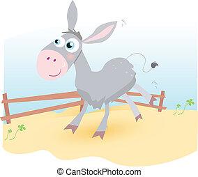Donkey on farm - Funny animal.  Vector cartoon Illustration.