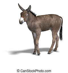 Donkey Render - Rendering of a mule with Clipping Path over...