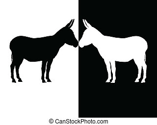 donkey - silhouette black and white