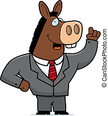 A happy cartoon donkey with a suit on.