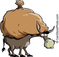Donkey - The donkey carries a large bag, vector