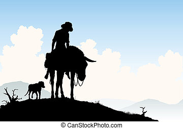 Donkey traveler - Editable vector silhouette of a weary...