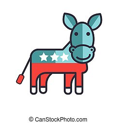 Donkey, usa, democrat party flat line illustration, concept vector isolated icon