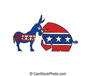 DONKEY VS ELEPHANT - Dems. VS Repub., show down in town