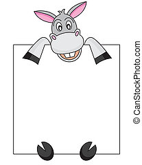 Donkey with a poster. Space for photo or text