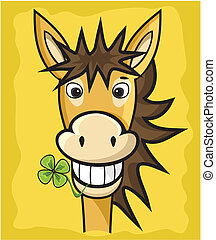 Donkey with clover