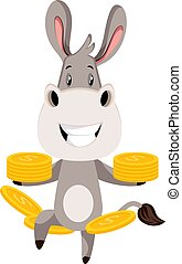 Donkey with coins, illustration, vector on white background.