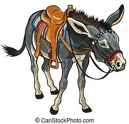 donkey with saddle illustration isolated on white background