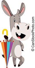 Donkey with umbrella, illustration, vector on white background.