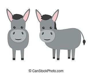 Donkeys flat character set. Cute farm animals. Vector cartoon illustration isolated on white