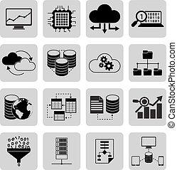 données, analyse, icônes