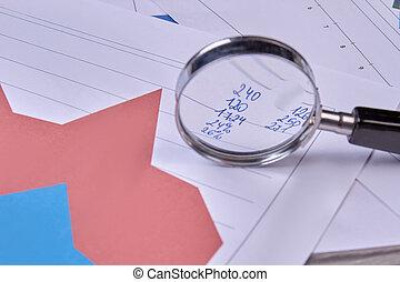 données, analyser, financier, verre., magnifier