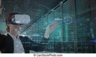 données, animation, casque à écouteurs, vr, porter, caucasien femme, toucher, traitement, écran